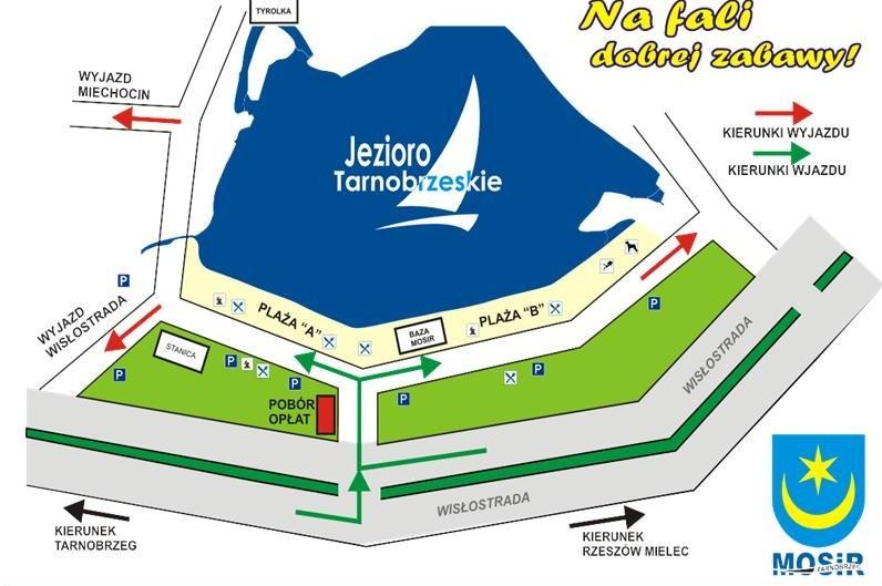 Plan komunikacji wokół jeziora. Źródło: Urząd Miasta Tarnobrzeg