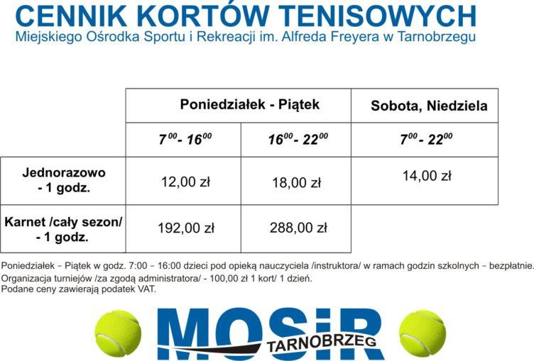 korty tenisowe tarnobrzeg cennik