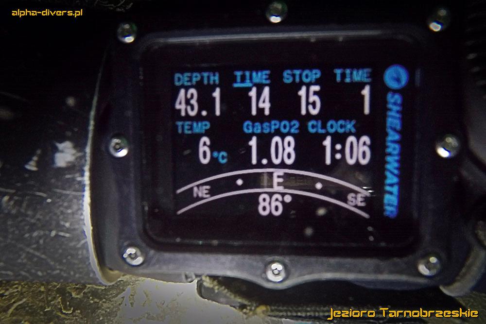 rekord głębokości nurkowania w Jeziorze Tarnobrzeskim