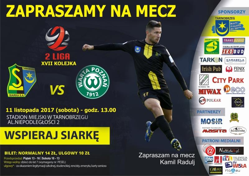 W sobotę mecz Siarki z Wartą Poznań